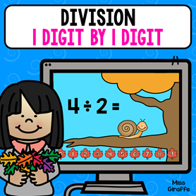 Division 1 digit by 1 digit game that is so cute and fun!