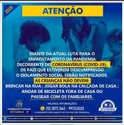 COMUNICADO DA PREFEITURA E DO CONSELHO TUTELAR SOBRE MEDIDAS CONTRA O CORONAVÍRUS