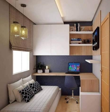 Desain ruang kamar rumah minimalis type 45 dengan plafon keren