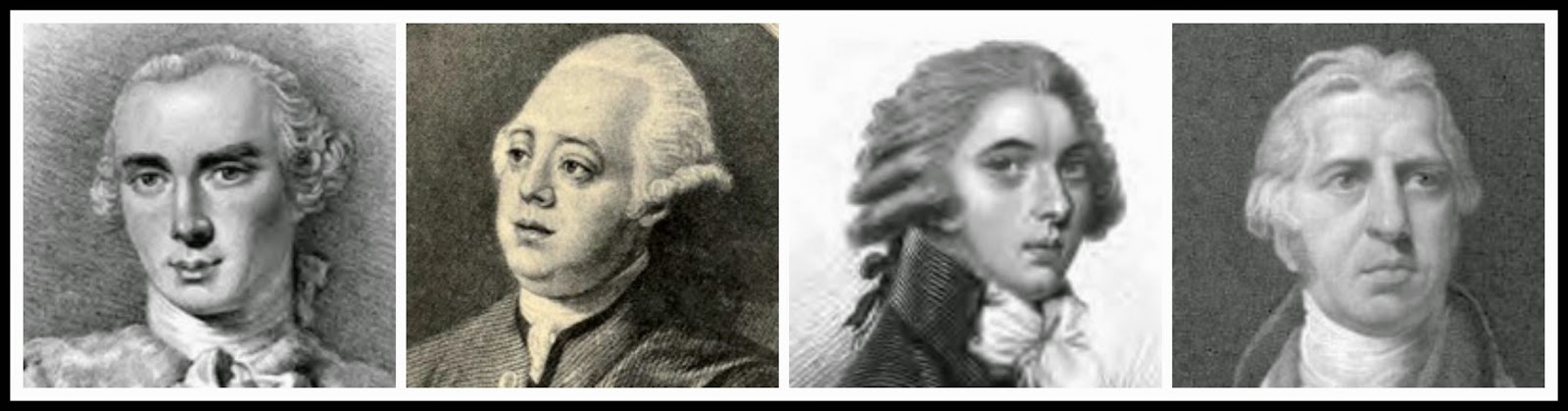 4 Prime Ministers of George III  From left to right: Lord Bute, Lord North,William Pitt the Younger, Lord Liverpoo