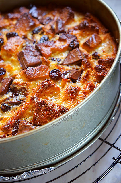 Brioche Pudding with Cranberries, Banana & Black Chocolate