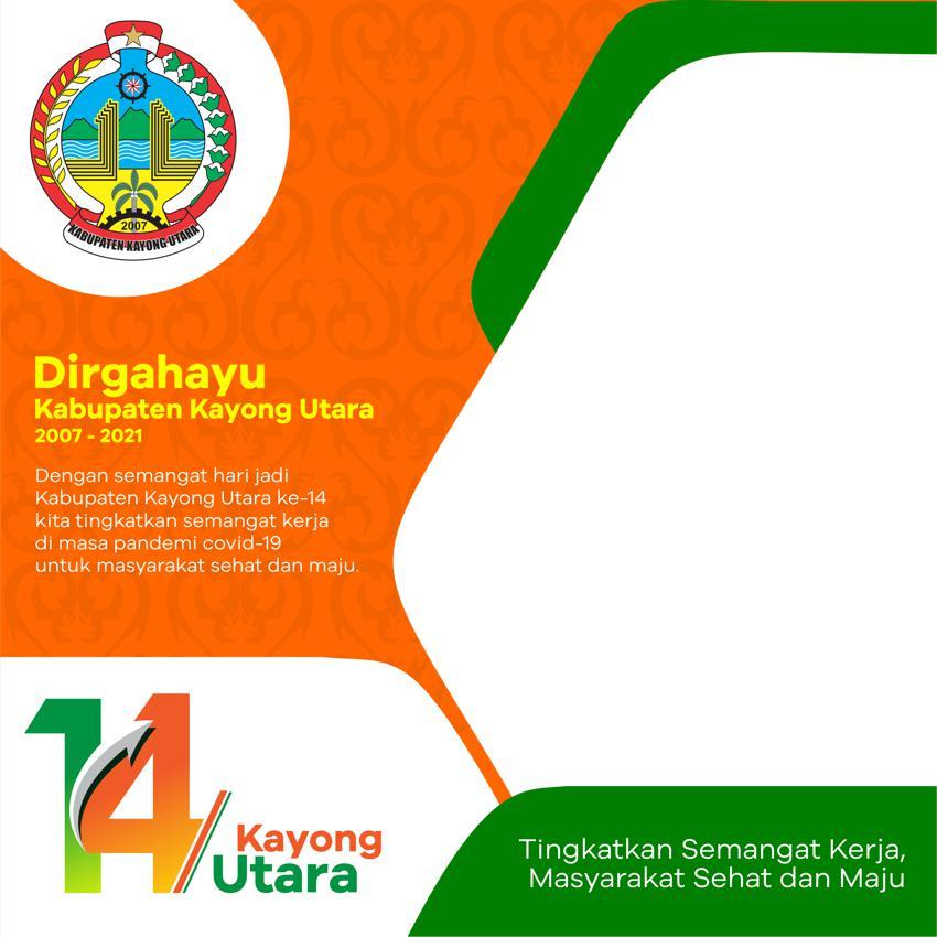 Desain Template Frame atau Bingkai Twibbon Hari Jadi ke-14 Kabupaten Kayong Utara Tahun 2021 - Twibbonize