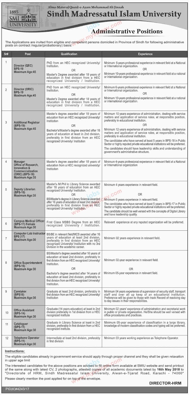 ⇨ #Jobs - #CareerOpportunities | Administrative Positions at Sindh Madressatul Islam University Karahi - Apply latest by May 16, 2018
