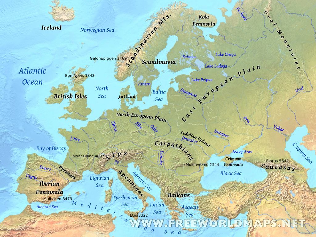labeled physical map of europe