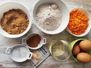 ingredientes para tarta de zanahoria o carrot cake