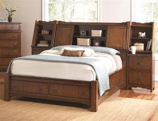 bed with headboard storage