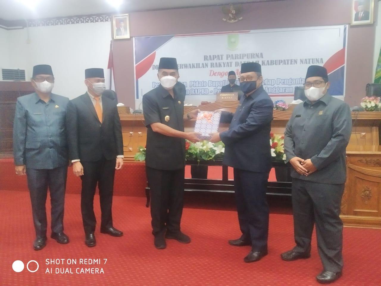 Bupati Sampaikan RAPBD-P Kabupaten Natuna TA 2021 kepada DPRD Kabupaten Natuna