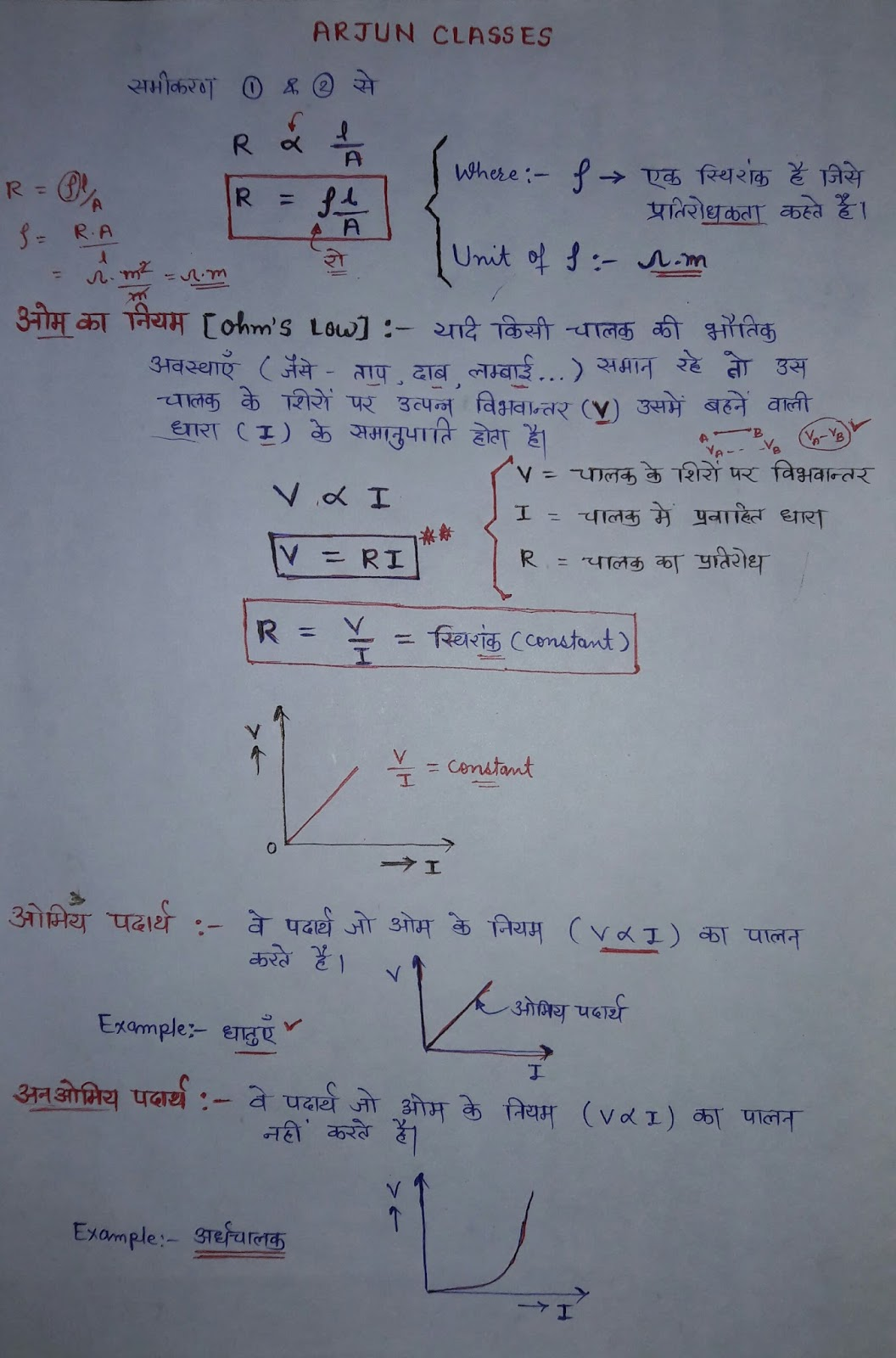 ohm's low in hindi