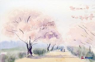 水彩画デモンストレーション 桜並木