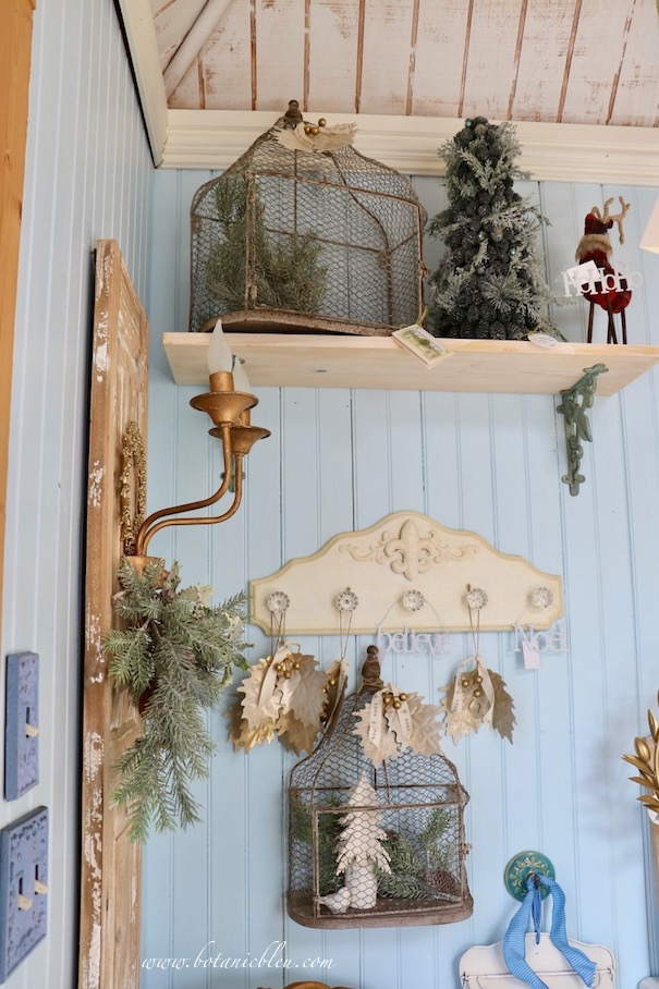 French Country Christmas Event 2019 has wire bird cages with flat backs and bottoms to allow them to hang or to sit