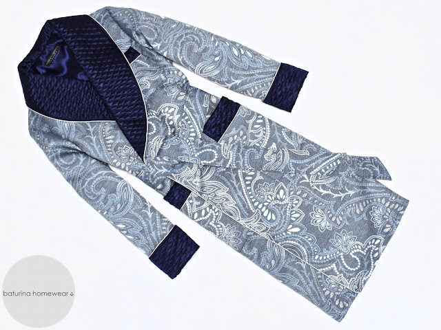mens blue paisley dressing gown warm long quilted silk smoking jacket robe gentleman vintage housecoat
