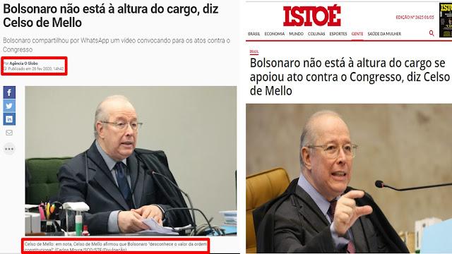 EI! Bolsonaro tem advogado? Se tem por que Celso de Mello (em suspeição)  está conduzindo um inquérito contra ele e impedindo perícia no celular de Moro?