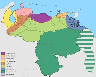 Mapa de las Regiones Naturales de Venezuela
