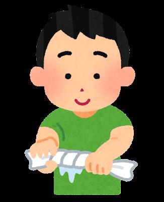 雑巾を絞る人のイラスト