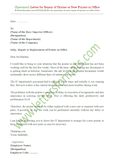 request letter for repair of office printer