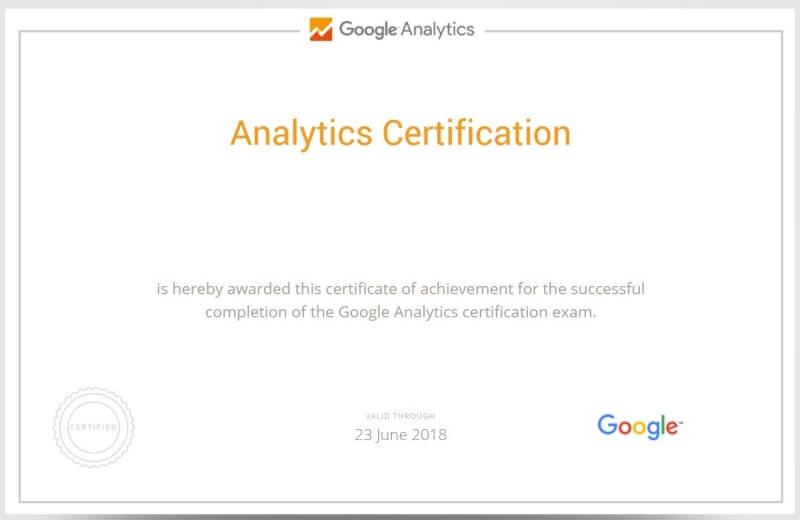 شهادة التحليل الرقمي Google Analytics