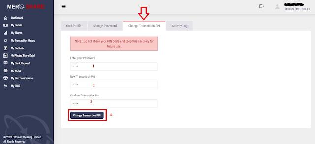 change the transaction pin of MeroShare