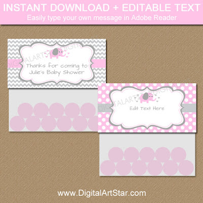 pink elephant goodie bag toppers for baby shower party favors