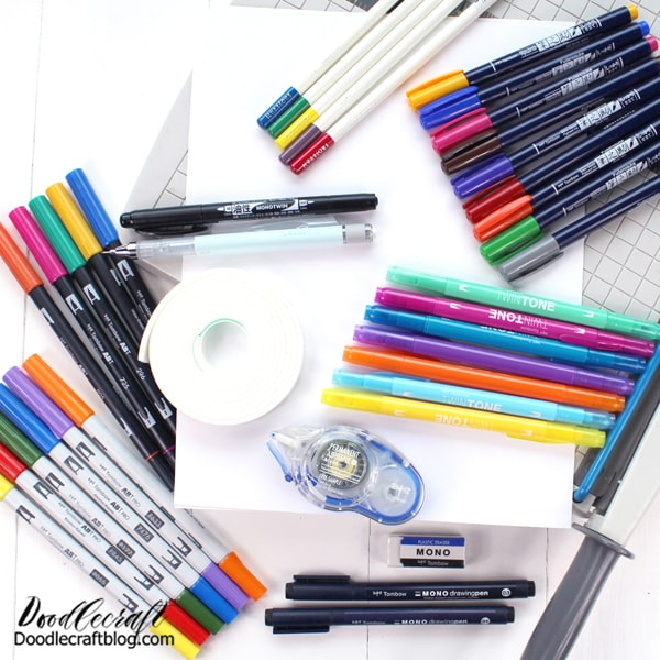Supplies Needed for Basic Handmade Cards: White cardstock  Paper cutter or trimmer  Score board or ruler and stylus  ABT Pro Alcohol Ink Markers  Dual Brush Pens  MONO Drawing Pens  MONO Permanent Adhesive  TwinTone Markers  MONOTWIN Permanent Marker  Irojiten Colored Pencils  Fudenosuke Brush Pens  Foam Tape