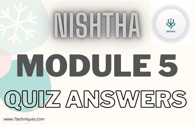Nishtha Module 5 Answer Key