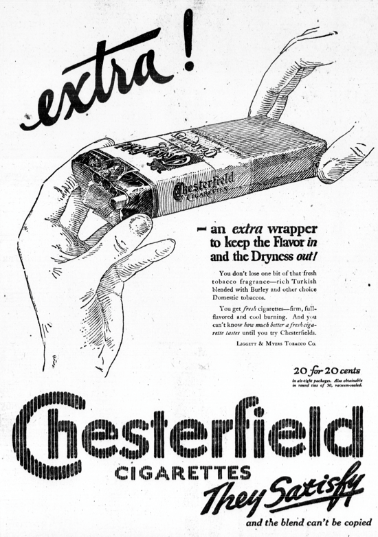 Chesterfield advertising 1921
