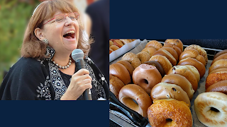 Rabbi Tamara Miller singing; bagels