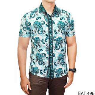 Busana kemeja batik pria lengan pendek desain mewah