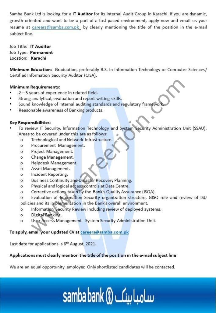 Samba Bank Ltd Jobs IT Auditor