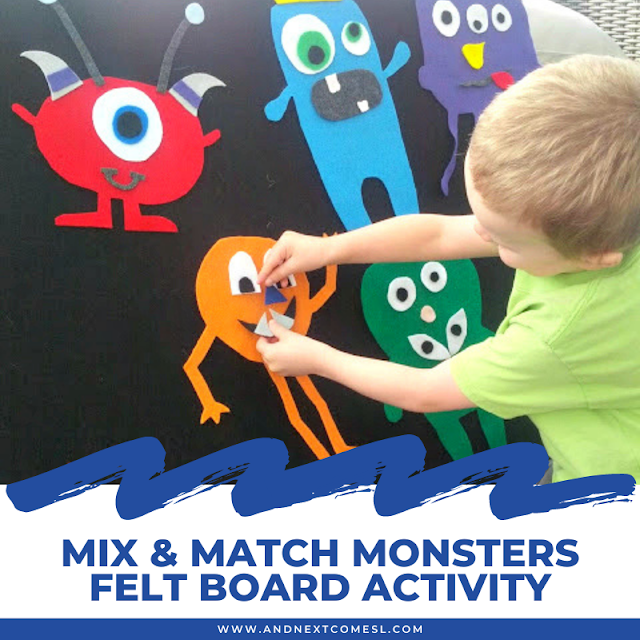 Mix and match monsters felt board activity for toddlers and preschoolers
