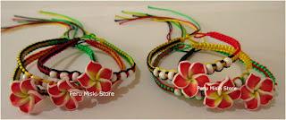 Rasta bracelets with plumeria flower
