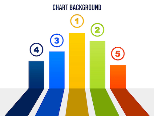 Colorful chart with numbers psd