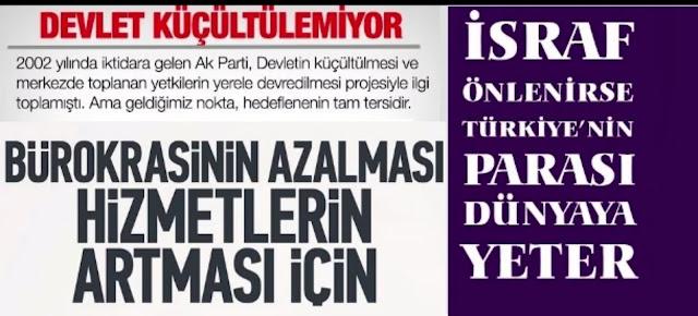 Türkiye'de devletin küçülmesi, tasarruf ve bürokrasinin azalması için