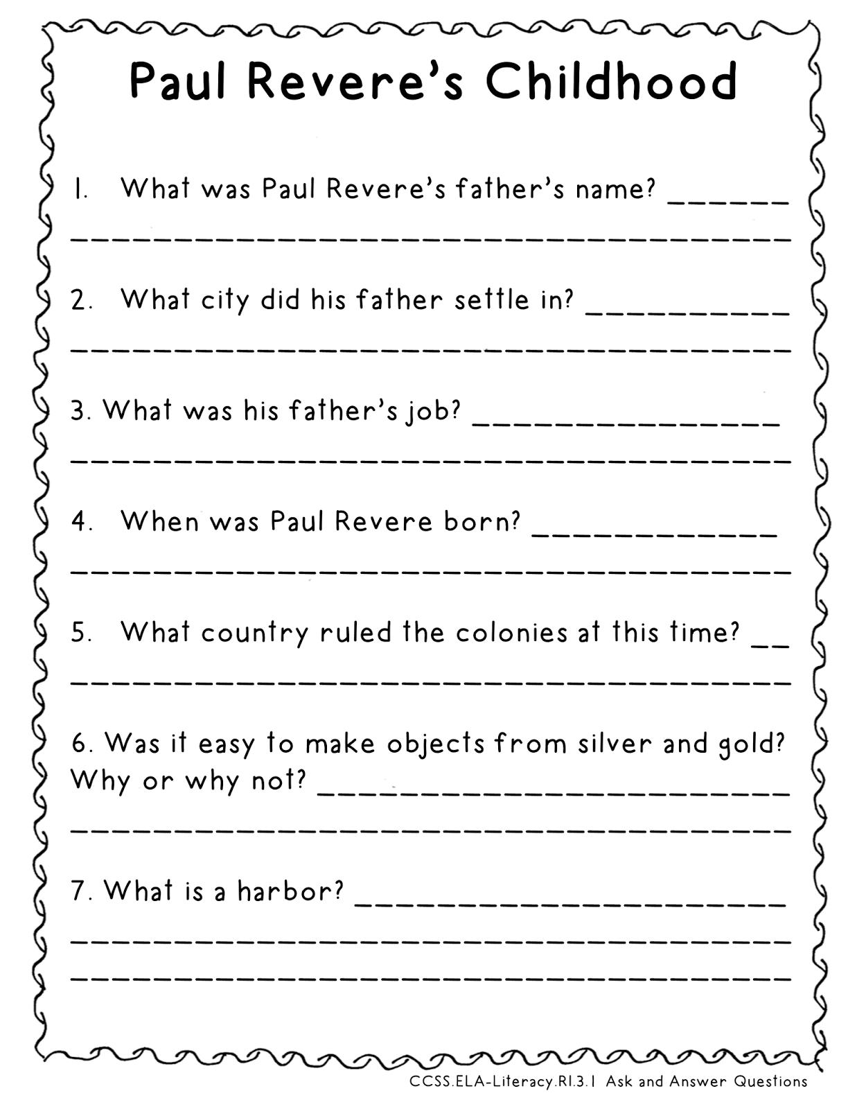 Paul Revere Worksheet - Khayav
