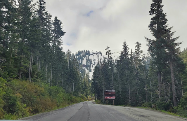 Road signage informing that some of the roads are still closed at Mt. Baker