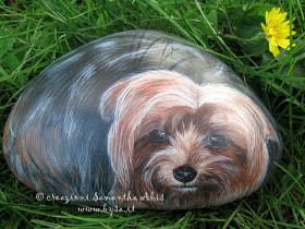 ritratto di cane Yorkshire dipinto a mano su sasso