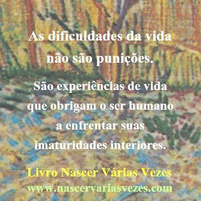 As dificuldades da vida não são punições.  São experiências de vida que obrigam o ser humano a enfrentar suas imaturidades interiores.   Livro Nascer Várias Vezes