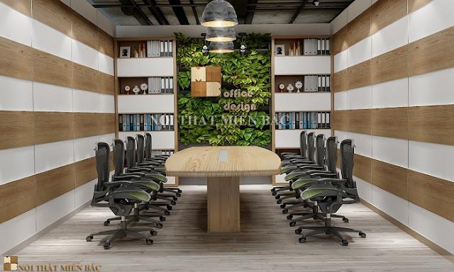 Thiết kế bàn veneer phòng họp mộc mạc, ấm áp