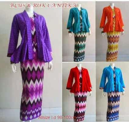 Setelan Baju Batik Wanita Model Terbaru Rok Blus