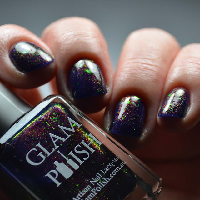 purple color shifting nail polish swatch different angle