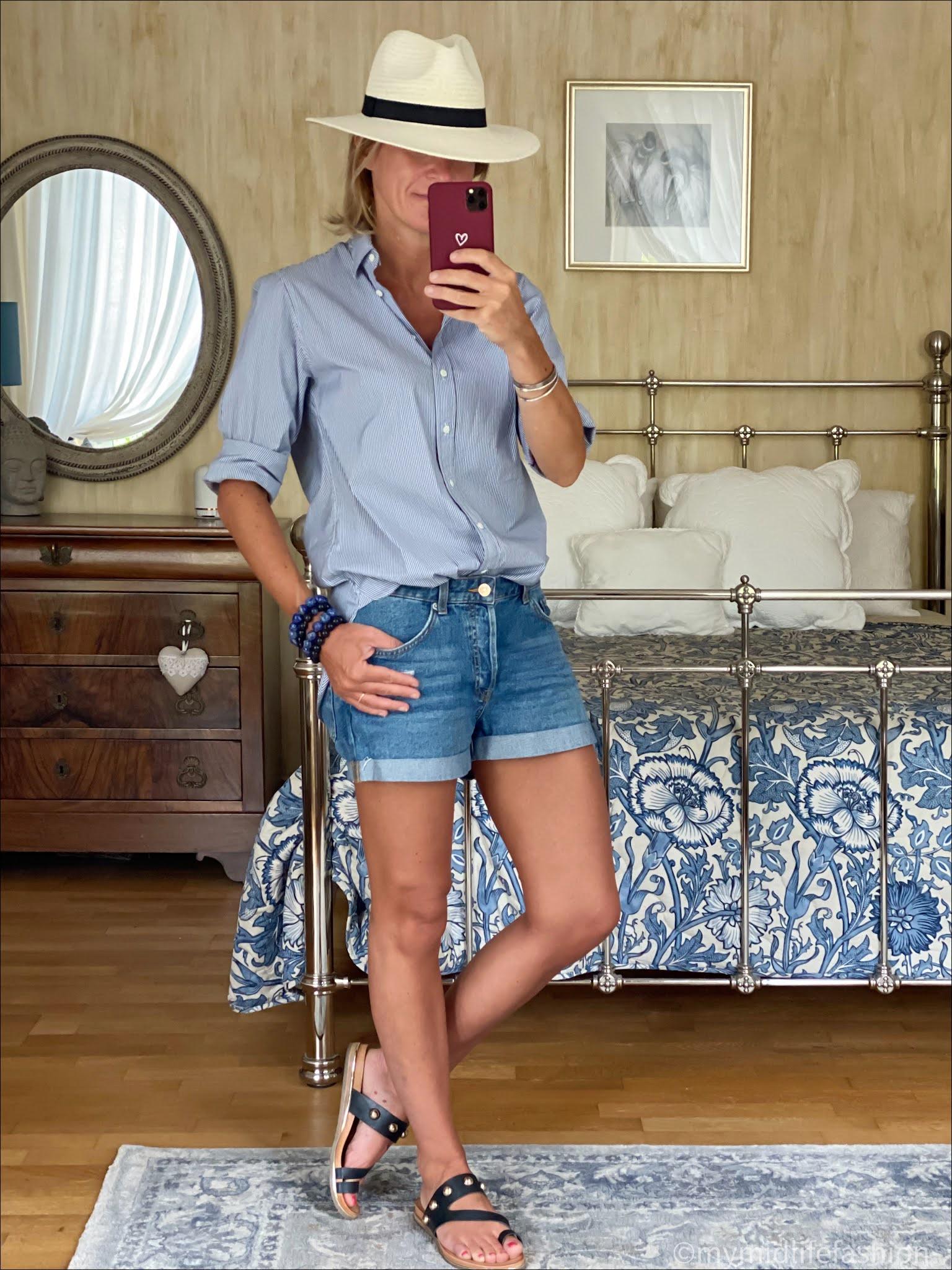 my midlife fashion, Zara Panama hat, Joseph oversized stripe shirt, h and m conscious boyfriend denim shorts, carvela karafe sandals