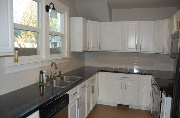 Beautiful laminate countertops for white cabinets