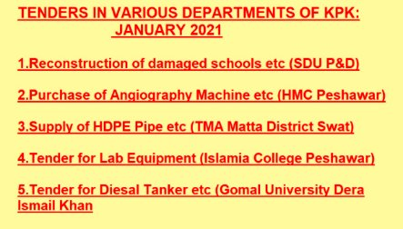 Tenders in Various Departments of  Khyber Pakhtunkhwa January 2021