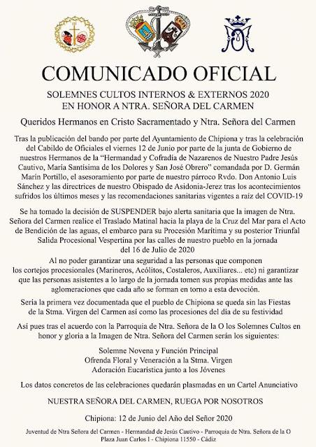 Comunicado Suspensión Procesión de la Virgen del Carmen de Chipiona
