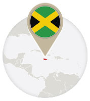 Jamaican flag and map