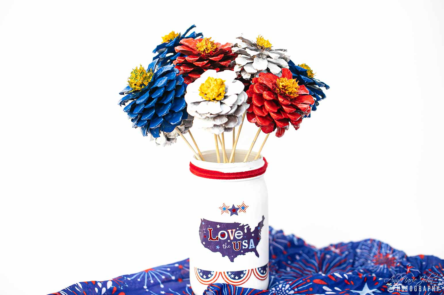 Patriotic Pinecone Flowers