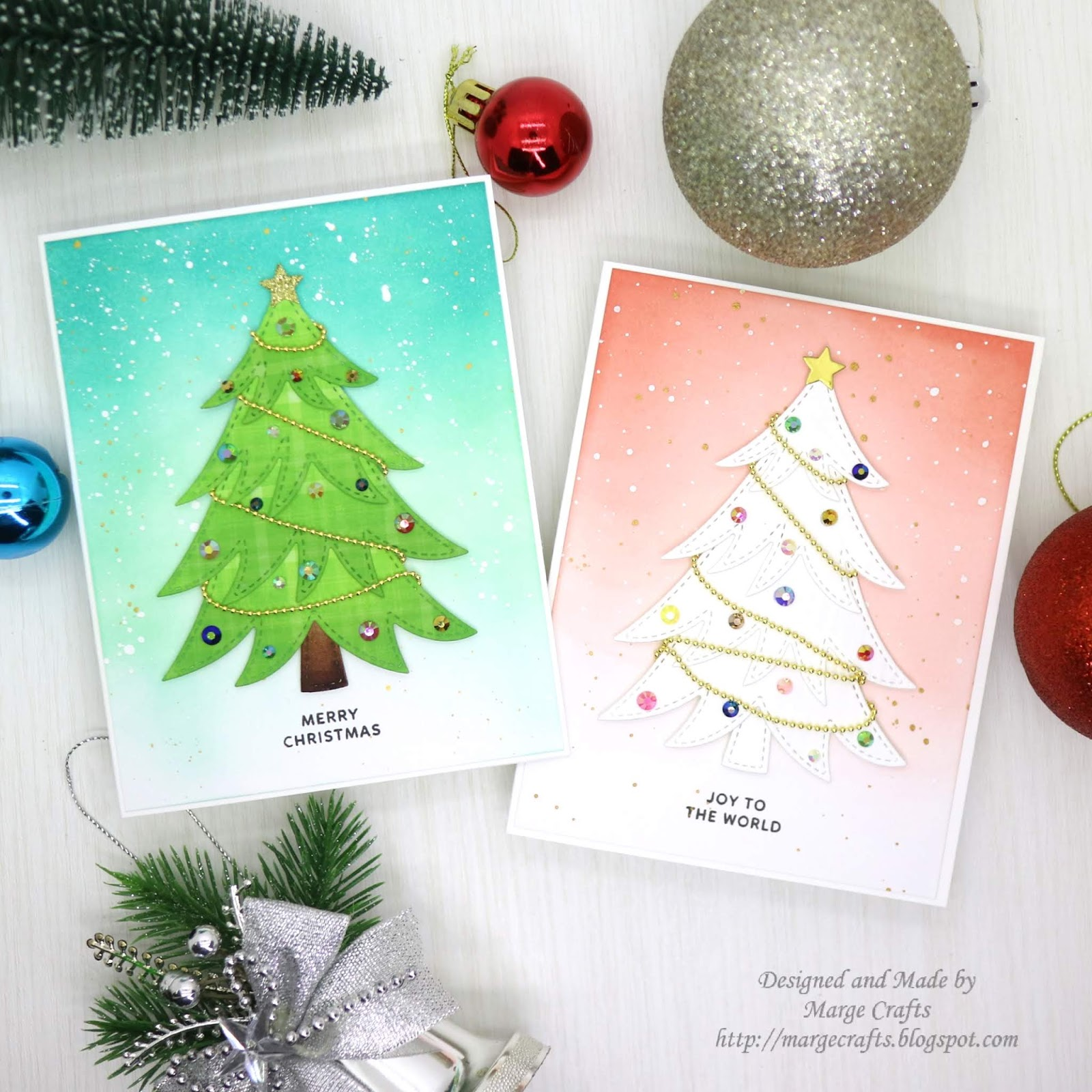 Marge Crafts: Simple Christmas Cards ideas with ink blending