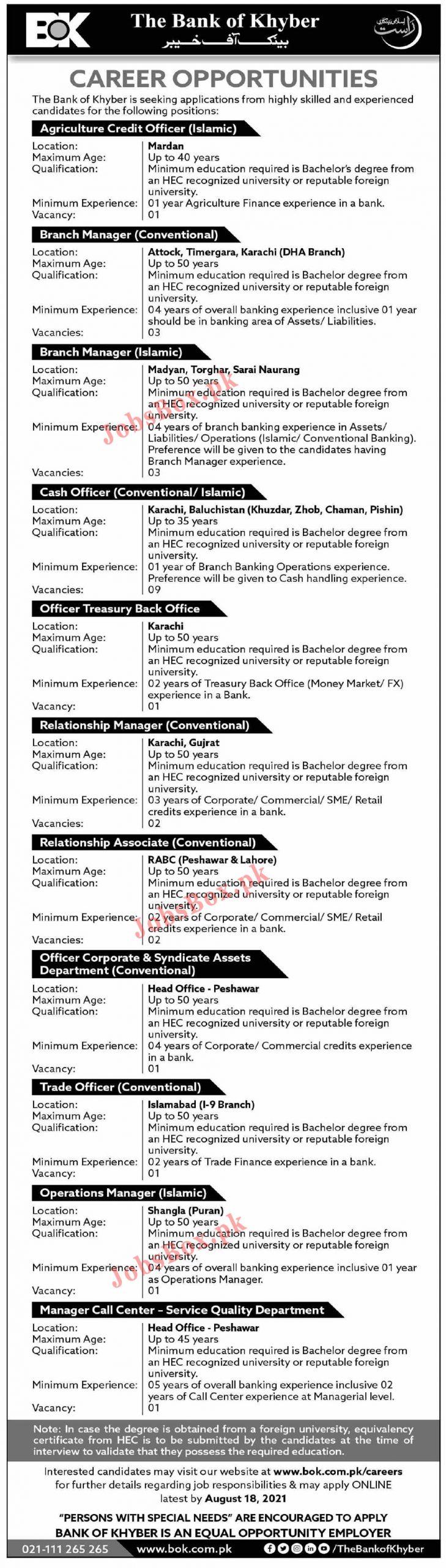 www.bok.com.pk Jobs 2021 - BOK Bank of Khyber Jobs 2021 in Pakistan