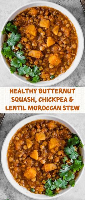 Healthy Butternut Squash, Chickpea & Lentil Moroccan Stew