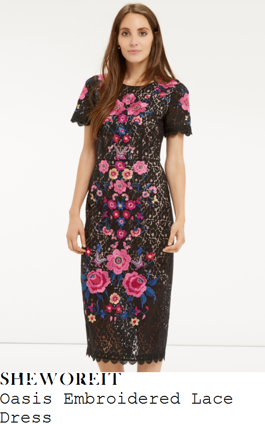 lisa-snowdon-oasis-black-pink-blue-and-multicoloured-floral-embroidery-detail-short-sleeve-high-waisted-scalloped-edge-lace-pencil-midi-dress