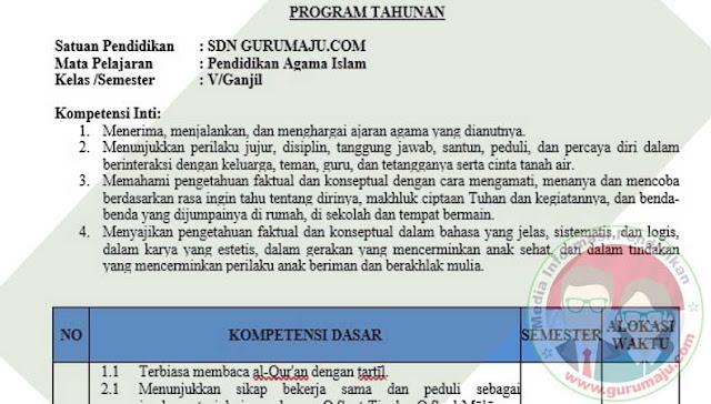 Download Prota PAI Kelas 5 Semester 1 SD K13 Revisi 2021